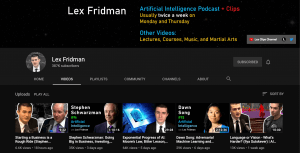 Lex Fridman YouTube Channel for Artificial Intelligence