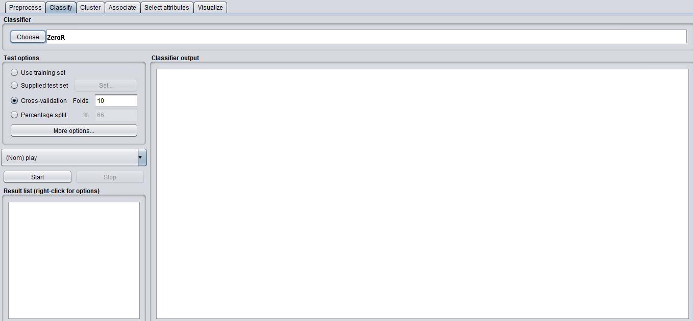 The Classify window in WEKA